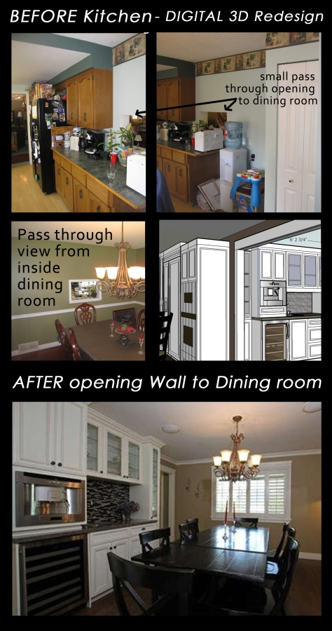 Aldergrove Kitchen/Dining Before and After Opening Wall