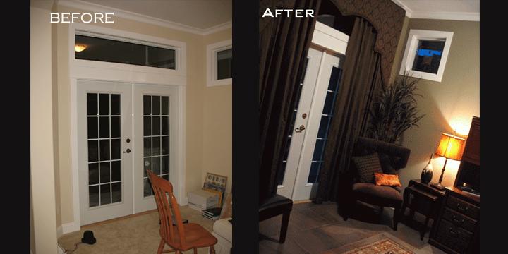 Fraser Heights Den-Custom French Door Treatment & Fraser Heights Den-Custom French Door Treatment   Alanau0027s Touch ...
