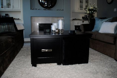 custom coffee table with ottoman cubbies