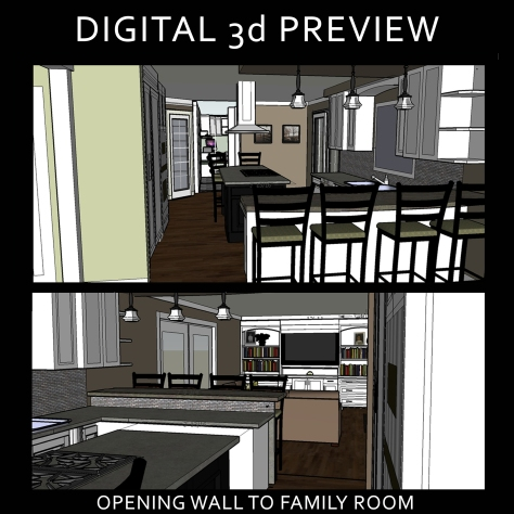 DIGITAL PREVIEW of  kitchen opening to family room